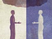 Illustration: man facing his reflection