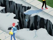 Illustration: Students walking with chasm between them