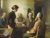 Painting of A Meeting of the School Trustees, 1885 by Robert Harris.