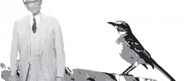 Illustration of Atticus and a mockingbird