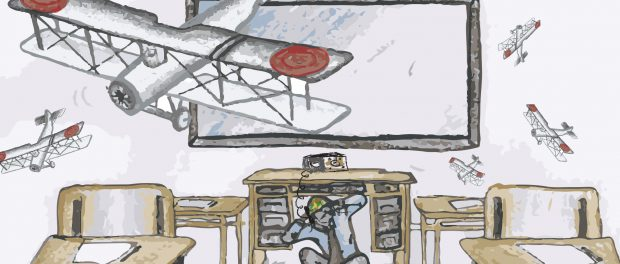 An illustration of a male teacher ducking under his desk wearing army fatigues