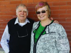 Author Jack Hutton with Joy Kinsman, former branch president at Port Dover Composite School