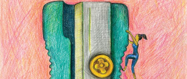 Colour pencil illustration of a lady in workout clothes trying to climb to the top of an enormous pencil sharpener.