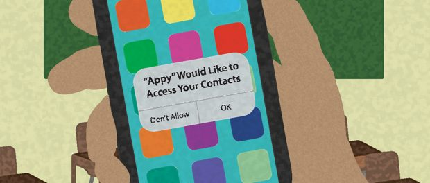 Illustration of a hand holding a smart phone with an app alert message asking if it is okay to access the contacts on the phone.