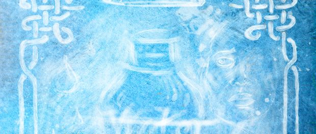 Abstract illustration of an water bottle, pencil, face outline and water droplets.