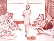 Illustration of a group of people sitting around a table listening to a facilitator