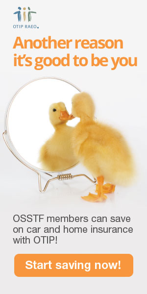 Little duck looking at itself in the mirror and says to itself: Another reason it's good to be with you. OSSTF members can save on car and home insurance with OTIP!