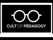 Graphic of a laptop opened with the cult of pedagogy logo displayed on the screen.