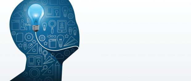 Graphic of a person's blank head and shoulders with images of light bulbs inside