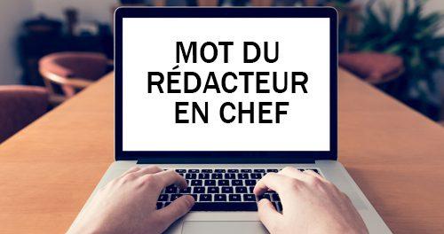 Photo de mains tapant sur un clavier d'ordinateur portatif avec les mots du rédacteur apparaissant à l'écran.