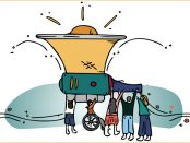 Illustration of a group of people holding up a gigantic megaphone into the sky