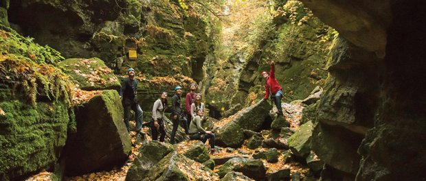 Photo of participants exploring scenic caves.