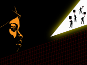 Image of black woman face silhouette on a dark background with a slice of light showing activists in the distance.