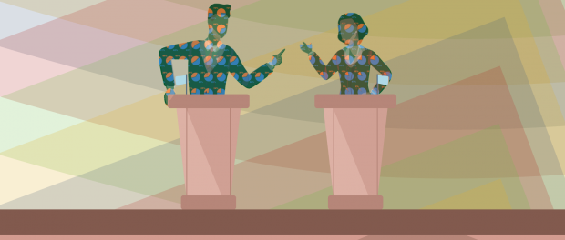 Illustration of a two human figures each standing behind their own podium