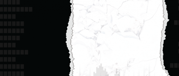 abstract black and white image of a city scape and torn edges