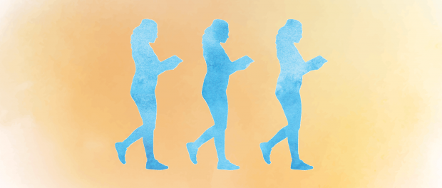 Three blue silhouettes following in a line of a person carrying a book