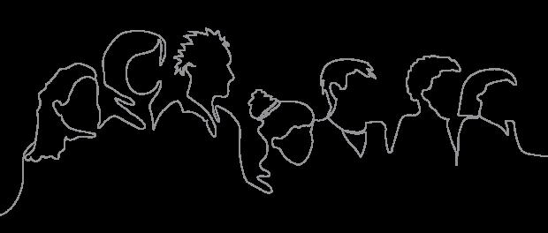 Line art of parents walking together