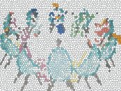 Mosaic abstract of people sitting around in a circle