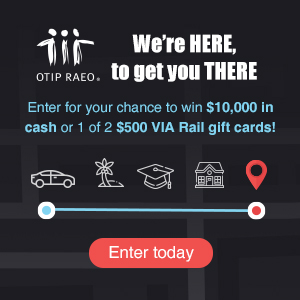 Enter for your chance to win $10,000 in cash or 1 of 2 $500 VIA Rail gift cards. Complete the fields below for your chance to win. No purchase is required.