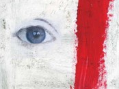 Image of a close-up of the eye of a painted face with a red stripe down the side