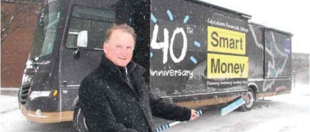 Photo of Chuck Hamilton and the EFG 40th anniversary van