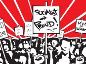Illustration of people rallying with picket signs indicating their pride in being a socialist.