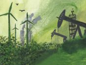 Illustration of wind mills and oil pumps