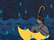 illustration of a man using the inside of an umbrella as a boat while he wades across choppy waters.