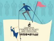 Illustration of people climbing up a rope in front of the Canadian Charter of rights and Freedoms