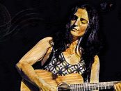 Illustration of Orit Shimoni playing the acoustic guitar.