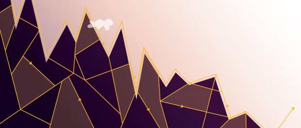 Digital illustration of mountains and arrowed lines going up and down the mountain peaks