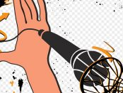 Illustration of a hand slam dunking a microphone in to basketball net