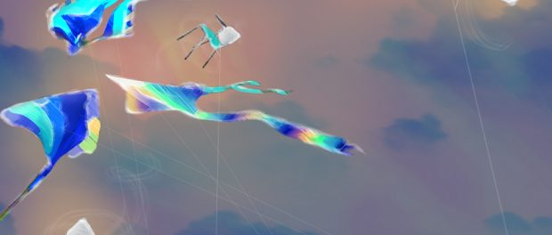 Abstract illustration of flying kits and school chairs flying but being tethered by kite string.