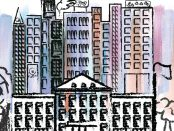 Illustration of a university with many tall business building surrounding it.