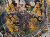 Aerial view photo of Bill 160 protesters at Queen's Park, 1997