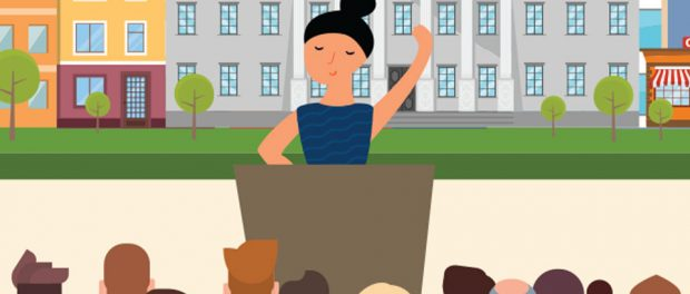 Illustration of woman politician speaking at podium in front of a crowd of people