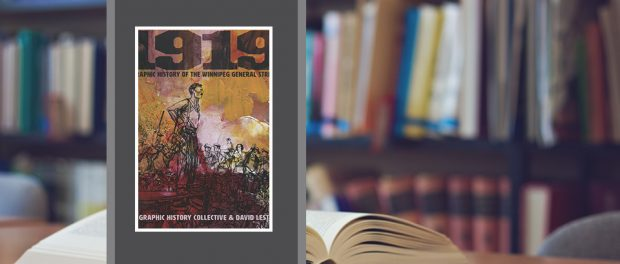 Image of the book cover beside a photo of a bookshelf and opened book on a table.