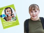 Image of a teenage student looking towards the viewer smiling the cover image of the report The Economic Case for Investing in Education.