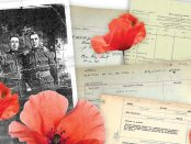 Collage of images that include poppies, veteran records and a photo of the two soldiers spoken about in the article