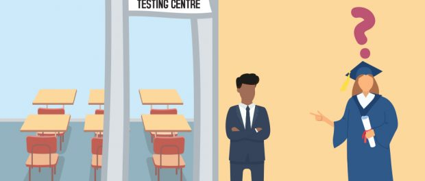 illustration of a graduate student pointing at a moderator and testing centre with a question mark above her head.