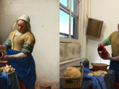 Two images side by side of someone who has re-enacted a famous painting