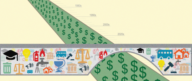 Illustration of a bridge with an arched over a large gap that is green and full of dollar signs