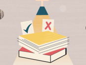 illustration with books on a table with an x and a check mark and a light shining down on them
